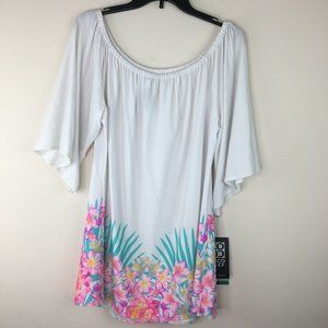 Swimwear Floral Cover Up Off The Shoulder Top